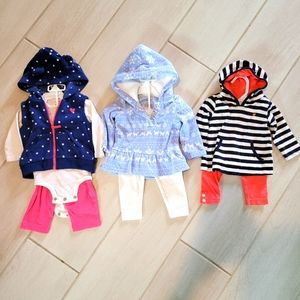 Carter's Set of 3 Complete Long Sleeve Outfits 6m